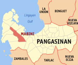 Map of Pangasinan with Mabini highlighted