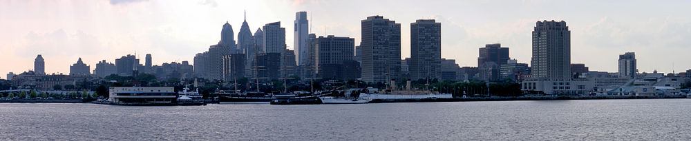 Panoramic view of the Philadelphia skyline from across the Delaware River in Camden, New Jersey.