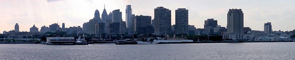 Panoramic view of the Center City skyline, viewed across the Delaware River from the east in Camden, New Jersey with the Comcast Center and the spired One Liberty Place, the two tallest skyscrapers in 2008