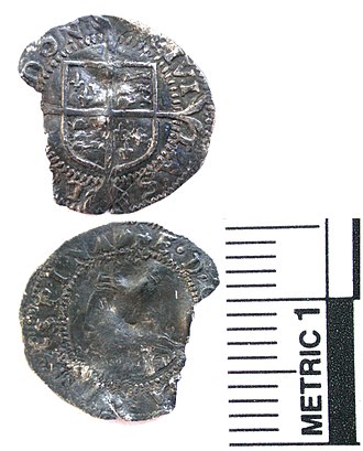 History of the English penny (1485–1603) - Silver penny of Mary and Philip.