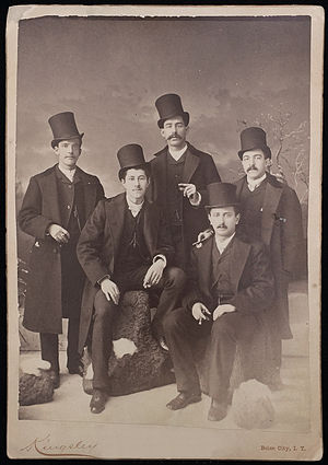 Beaver hat - 1886 cabinet card photograph of men in beaver hats