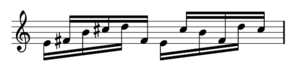 Piano Phase - First motive: 12 semiquavers grouped 4x3