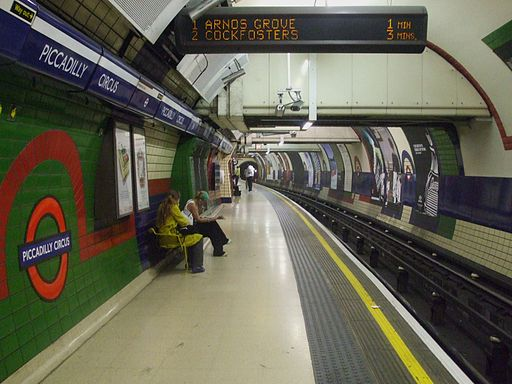 Piccadilly Circus tube stn Piccadilly eastbound look west