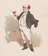 19th century watercolour of the Dickens character Samuel Pickwick: a short, portly bald man of mature years, wineglass in hand