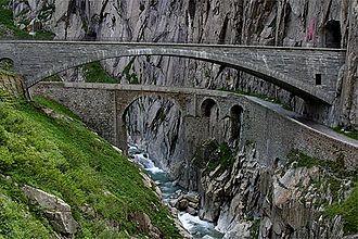 Reuss (river) - Teufelsbrücke in the Schöllenen Gorge