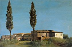 Pierre-Henri de Valenciennes: Fabriques à la Villa Farnèse : les deux peupliers