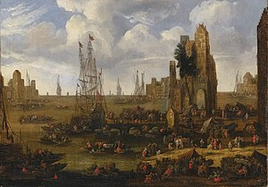 Pieter Casteels II - A Capriccio View of a Busy Harbour Scene with Figures Loading their Boats