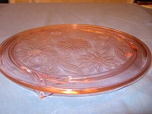 Depression glass - Pink Sunflower patterned depression cake plate