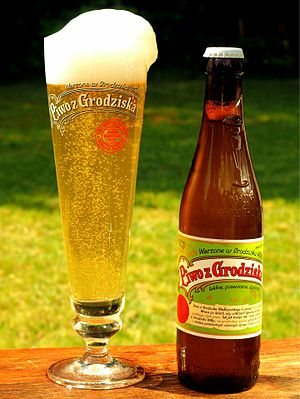 Grodziskie - Piwo z Grodziska, a modern Polish recreation of Grodziskie, brewed in Grodzisk Wielkopolski, served in a tall conical glass designed for this style of beer