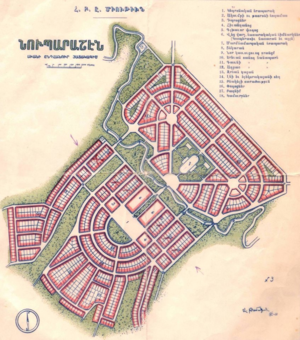Alexander Tamanian - Plan of Nubarashen settlement in Armenia by the architect Alexander Tamanian, 1926