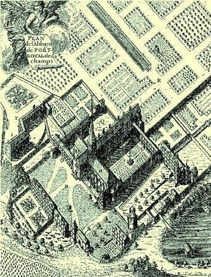 Louise-Magdeleine Horthemels - Plan of the Abbey of Port-Royal-des-Champs, engraving by Horthemels, c. 1710