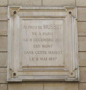 Alfred de Musset - Commemorative plaque, Mont-Thabor street, Paris