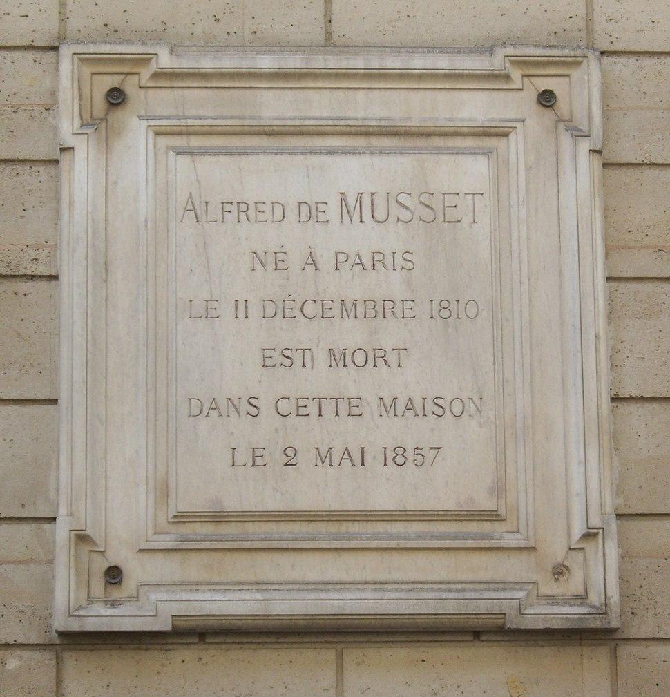 Plaque Alfred de Musset, 6 rue du Mont-Thabor, Paris 1