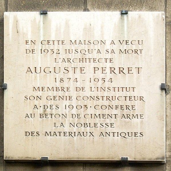 Fichier:Plaque Auguste Perret, 51-55 rue Raynouard, Paris 16.jpg
