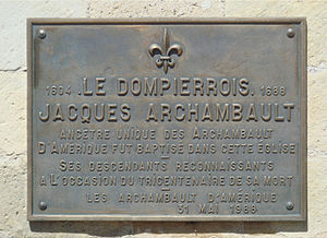 Jacques Archambault - Plaque to Jacques Archambault, Church of Dompierre-sur-Mer.