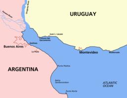 Mapo de Plata-rivero, montrante urbojn en Argentino kaj Urugvajo.