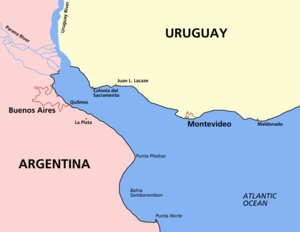 Map of the Río de la Plata, showing cities in Argentina and Uruguay.