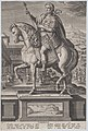 Plate 3- equestrian statue of Tiberius, in profile to the left, with a naval landscape on pedestal below, from 'Roman Emperors on Horseback' MET DP877292.jpg