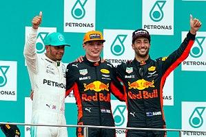 2017 Malaysian Grand Prix - Podium (L-R) Hamilton, Verstappen and Ricciardo