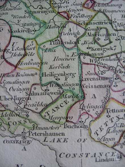 Political map of the Linzgau, 18th century Political map of the Linzgau north of Lake Constance, circa 1800.jpg