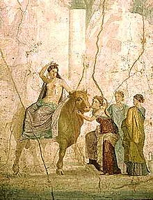 Fresco in the escavations of Pompei portraying Europa and the bull.