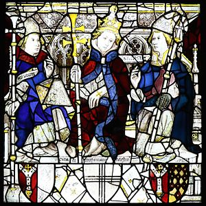Pope Celestine III - Image of Pope Celestine III (middle) in the east window of York Minster