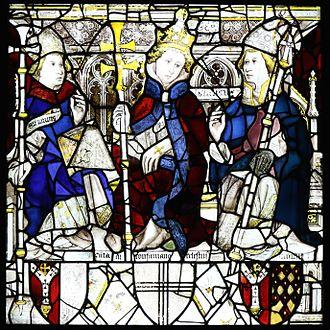 Pope Celestine III - Image of Pope Celestine III (middle) in the east window of York Minster