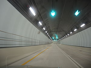 Port Miami Tunnel - Center of the tunnel traveling from MacArthur Causeway to PortMiami