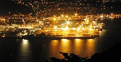 The Port of Wellington at night. Due to limited capacity, many ports operate twenty-four hours a day.