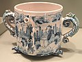 Posset Pot with Chinese figures in a landscape, dated 1674, Bristol, Brislington, or London, tin-glazed earthenware - Gardiner Museum, Toronto - DSC01289.JPG