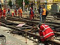 Praha, Smíchov, Anděl, rekonstrukce trati v Nádražní ulici, svařování kolejnic.JPG