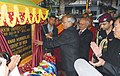 Pranab Mukherjee unveiling the plaque to lay the foundation stone of the Sikkim University, at Manan Kendra, Gangtok. The Governor of Sikkim, Shri B.P. Singh and the Chief Minister of Sikkim.jpg