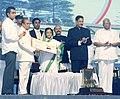 "Pratibha Devisingh Patil releasing a special cover by Indian Post, at the ""Platinum Jubilee Celebration of Maharashtra Legislature"", in Mumbai. The Governor of Maharashtra, Shri S. Sankaranarayanan.jpg"