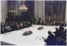 President Bush addresses the Middle East Peace Conference at the Royal Palace in Madrid%2C Spain - NARA - 186439.tif