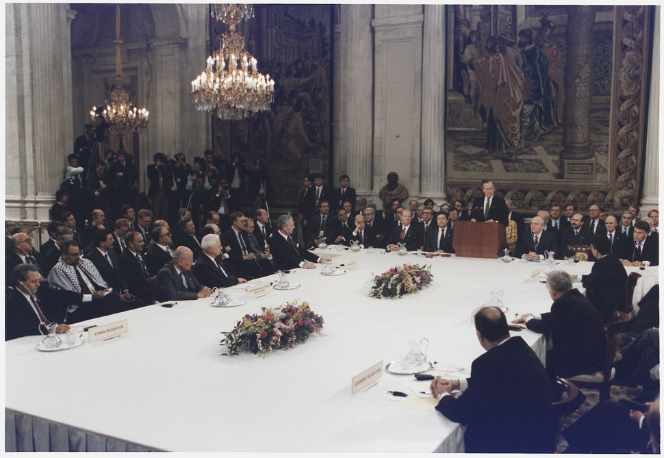 President Bush addresses the Middle East Peace Conference at the Royal Palace in Madrid, Spain - NARA - 186439