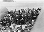 President Roosevelt and Winston Churchill seated on the quarterdeck of HMS PRINCE OF WALES for a Sunday service during the Atlantic Conference, 10 August 1941. A4811.jpg