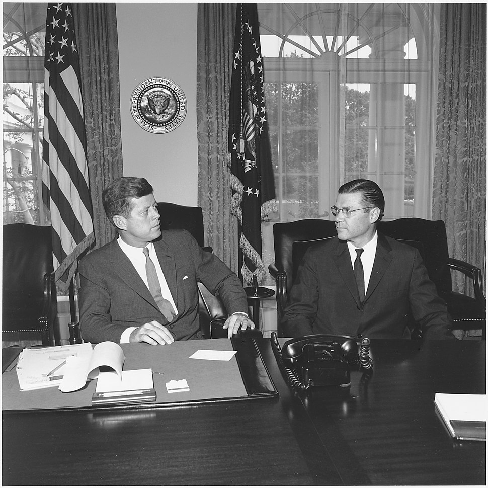 President meets with Secretary of Defense. President Kennedy, Secretary McNamara. White House, Cabinet Room - NARA - 194244
