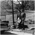 President with Theodore Sorensen. Theodore Sorensen, President Kennedy. White House, South Lawn. - NARA - 194193.jpg