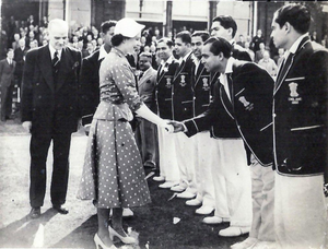 Indian cricket team in England in 1952 - The Indian team meets Queen Elizabeth II at Lord's Cricket Ground, 23 June 1952