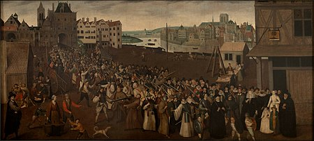 Armed procession of the Catholic League in Paris in 1590, Musee Carnavalet. Procession de la Ligue 1590 Carnavalet.jpg
