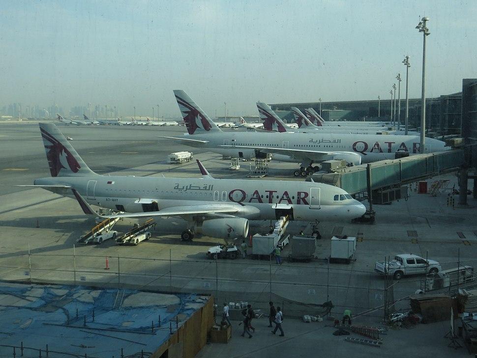 QR aircraft at Hamad Airport, 07-2014