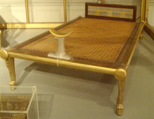 Hetepheres I - Bed with headrest from the funerary furniture of Hetepheres. Bed length is 177 cm. Reconstruction of original on display in Cairo, this copy resides in the Museum of Fine Arts, Boston.