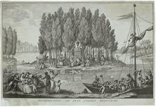Gravure représentant Rousseau sortant de son tombeau sur l'île des Puepliers.