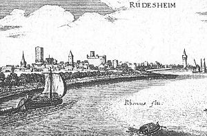 Rüdesheim am Rhein - Rüdesheim – extract from the Topographia Hassiae by Matthäus Merian the Younger, 1655