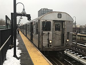 J/Z (New York City Subway service) - A train made of R32 cars in J service at Marcy Avenue.