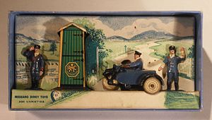 Dinky Toys - RAC hut and motor cycle patrol, to O scale, which was about 1/43.