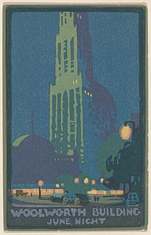 A gradient lithograph print of the Woolworth Building in New York in blue tones