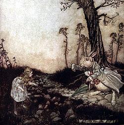 Ilustración de Arthur Rackham en Alicia en el país de las maravillas