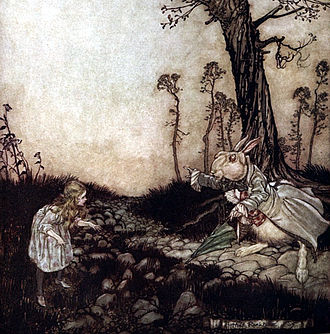 Alice's Adventures in Wonderland - Illustration of Alice with the White Rabbit by Arthur Rackham