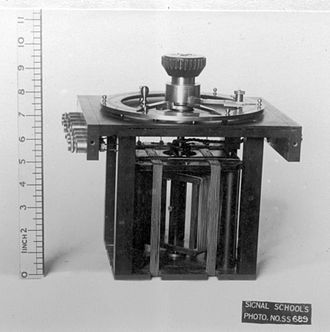 "Radio direction finder - This Royal Navy model is typical of B-T goniometers. The two sets of ""field coils"" and the rotating ""sense coil"" are visible."